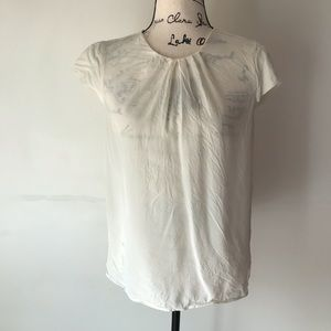 Lands End ivory silk blouse S 6-8